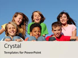 Slide deck having diverse children - group of happy smiling kids background and a light gray colored foreground.