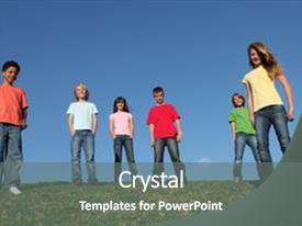 Slide deck enhanced with diverse group of kids youth background and a gray colored foreground.