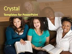 Theme with bible - diverse group of women studing background and a tawny brown colored foreground.