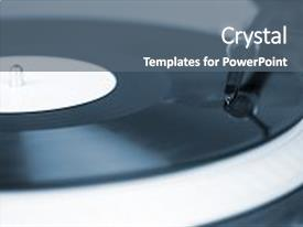 Slide deck having dj needle on spinning turntable background and a gray colored foreground