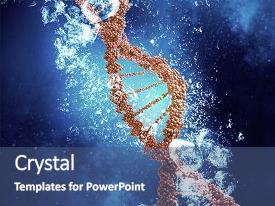 PPT theme having dna molecule in water background and a ocean colored foreground