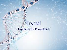 Slide deck with dna molecule on blue background beautiful illustration closeup background and a sky blue colored foreground