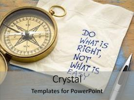 Colorful PPT layouts enhanced with do what is right not what is easy advice or reminder - handwriting on a napkin with an antique brass compass backdrop and a light gray colored foreground.