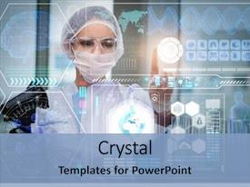 Beautiful theme featuring doctor in futuristic medical concept backdrop and a light blue colored foreground