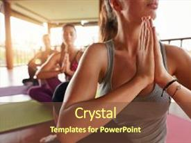 Beautiful PPT theme featuring join - doing ardha matsyendrasana in health backdrop and a tawny brown colored foreground.