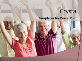 Colorful presentation design enhanced with health - doing exercises in a retirement backdrop and a light gray colored foreground.
