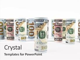 Beautiful theme featuring dollar dollar banknotes roll in other positions american us currency on white board american dollar banknote rolls in all denominations on white background backdrop and a white colored foreground.