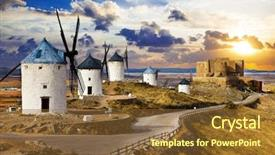 Beautiful presentation theme featuring don quixote cosuegra spain backdrop and a tawny brown colored foreground