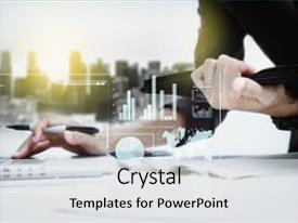 Colorful PPT layouts enhanced with double exposure of business woman backdrop and a light gray colored foreground.