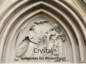 Amazing presentation theme having annunciation gothic relief in saint wenceslas cathedral in olomouc czech republic backdrop and a light gray colored foreground