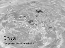 PPT theme consisting of drops of water beautiful background background and a light gray colored foreground.