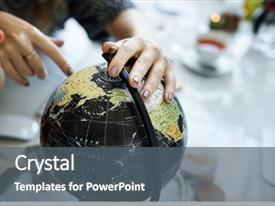 PPT theme enhanced with earth - discovery world learning analysing cartography background and a gray colored foreground
