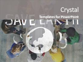 Beautiful PPT theme featuring earth day ecology save earth backdrop and a gray colored foreground