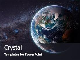 Cool new PPT theme with earth from space showing all backdrop and a dark gray colored foreground.