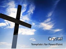 Presentation theme enhanced with easter christian - one cross on sky background background and a light blue colored foreground
