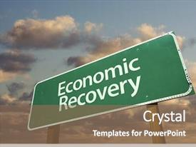 Presentation theme with economics - economic recovery green road sign background and a violet colored foreground