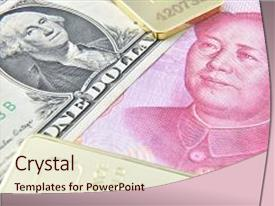 PPT theme with economics - chinese yuan us dollar gold background and a lemonade colored foreground.