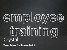 Slide deck featuring education concept text employee training background and a dark gray colored foreground