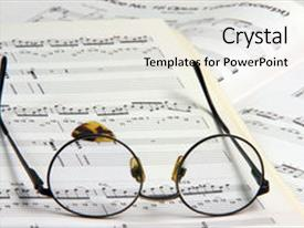 Audience pleasing theme consisting of education concepts study music spectacles backdrop and a white colored foreground.