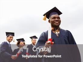 Audience pleasing presentation design consisting of education graduation and people concept - happy african american graduate in mortar boards and bachelor gown with diploma and group of international students backdrop and a dark gray colored foreground.