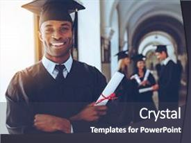 Amazing PPT layouts having education - happy graduate happy african man backdrop and a dark gray colored foreground.