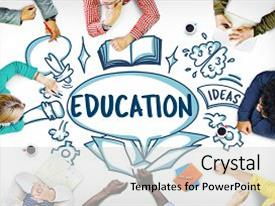 Amazing PPT layouts having education learning ideas school knowledge backdrop and a light gray colored foreground