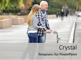 PPT theme featuring elderly man with walking frame background and a light gray colored foreground