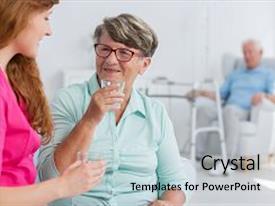 5000 elderly woman in nursing powerpoint templates w elderly woman
