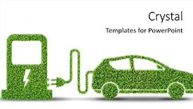 PPT layouts enhanced with electrical - electric car concept in green background and a white colored foreground