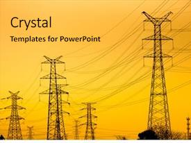PPT theme having  ...  - high voltage towers background and a light gray colored foreground