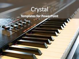 Audience pleasing slide deck consisting of electronic musical keyboard synthesizer close backdrop and a dark gray colored foreground.