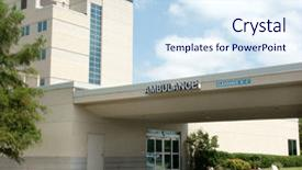 PPT layouts with emergency medical - hospital ambulance enterance name background and a sky blue colored foreground.