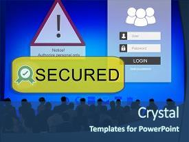 Presentation theme consisting of employee security - access allowed entrust password secured background and a ocean colored foreground