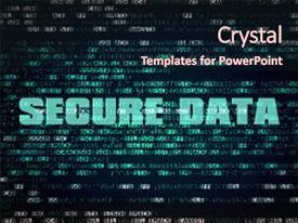 Slide set enhanced with encryption decryption - text secure data written background and a wine colored foreground.