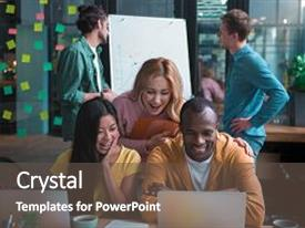 Powerpoint template stack of documents and files in folders pile audience pleasing presentation theme consisting of endless energy african man and asian girl are sitting at publicscrutiny Images