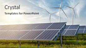 Presentation consisting of energy - solar panels and wind generators background and a light blue colored foreground