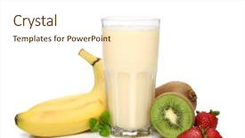 Colorful PPT theme enhanced with energy drink - banana smoothie with fruit composition backdrop and a cream colored foreground.