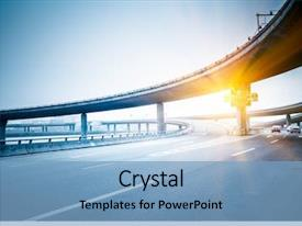 Cool new slide deck with engineering - concrete road curve of viaduct backdrop and a light blue colored foreground