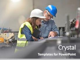 Beautiful slide deck featuring engineering - metal industry manager and engineer backdrop and a gray colored foreground