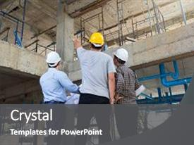 PPT theme enhanced with engineering - construction concepts engineer and architect background and a dark gray colored foreground.