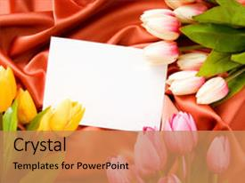 Audience pleasing presentation theme consisting of envelope and flowers on the satin background backdrop and a coral colored foreground