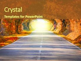 PPT theme with tunnel - environment - autumn fall road background and a tawny brown colored foreground.