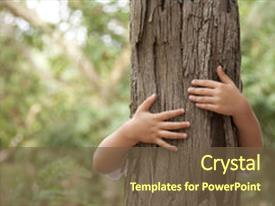 PPT layouts having environmental protection - kid hans embracing a tree background and a  colored foreground.