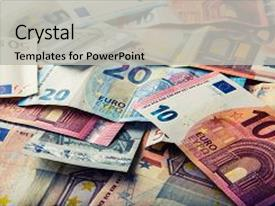 PPT theme featuring euro banknotes euro money euro background and a light gray colored foreground.