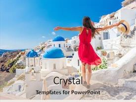 Presentation design having european destination wearing red background and a soft green colored foreground