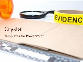 PPT theme enhanced with evidence tape and forensic tool background and a  colored foreground.
