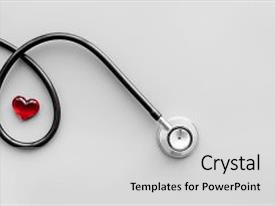 Audience pleasing presentation consisting of examine the heart to prevent heart disease heart sign and stethoscope on grey background top view backdrop and a light gray colored foreground