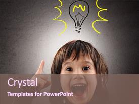 PPT theme having excellent idea kid with illustrated background and a violet colored foreground.