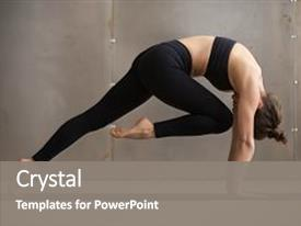 PPT theme enhanced with exercising dogs - young attractive woman practicing yoga background and a gray colored foreground.