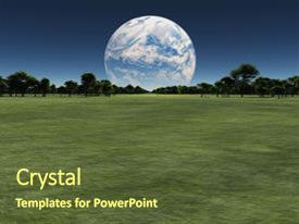 PPT theme having exo - alien world with another planet background and a tawny brown colored foreground